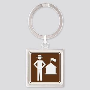 brown_ranger_station_sign_real Square Keychain