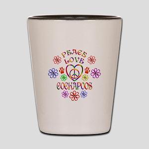 Peace Love Cockapoos Shot Glass