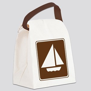 brown_sailboating_sign_real Canvas Lunch Bag