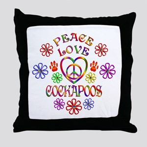 Peace Love Cockapoos Throw Pillow