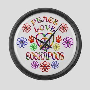Peace Love Cockapoos Large Wall Clock