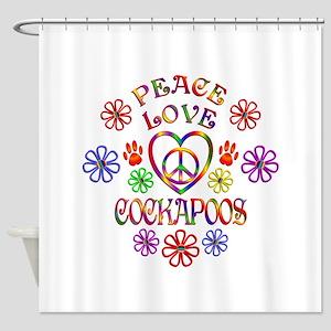 Peace Love Cockapoos Shower Curtain