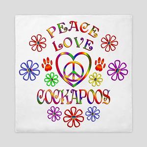 Peace Love Cockapoos Queen Duvet