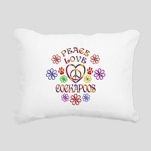 Peace Love Cockapoos Rectangular Canvas Pillow