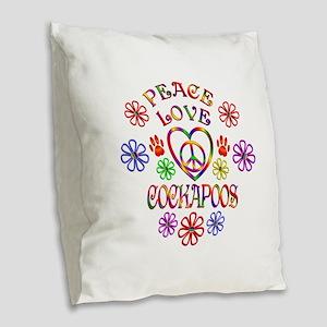 Peace Love Cockapoos Burlap Throw Pillow