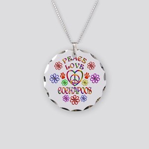 Peace Love Cockapoos Necklace Circle Charm