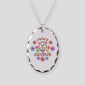 Peace Love Cockapoos Necklace Oval Charm