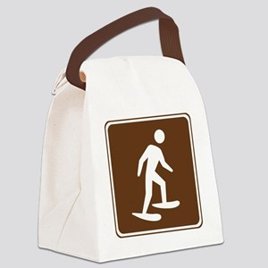 brown_snowshoeing_sign_real Canvas Lunch Bag
