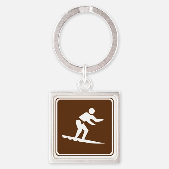 brown_surfing_sign_real Square Keychain