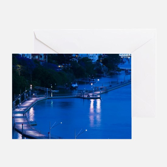 Brisbane. Evening View of a pontoon  Greeting Card