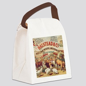 Halstead Meat Packers Vintage Ad  Canvas Lunch Bag