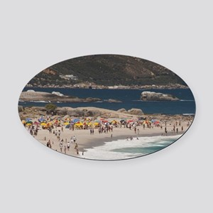 Camps Bay. Popular white sand beac Oval Car Magnet