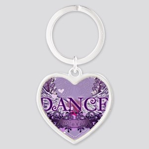 dance forever purple heart copy Heart Keychain