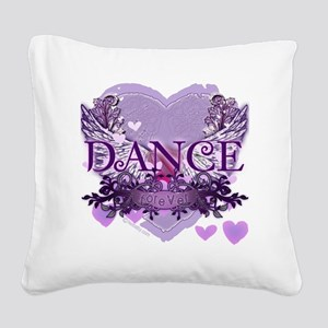 dance forever purple heart co Square Canvas Pillow