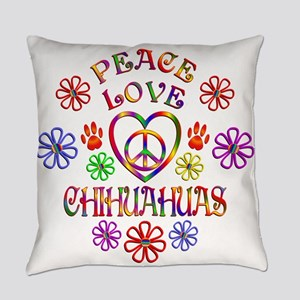 Peace Love Chihuahuas Everyday Pillow