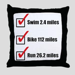 Triathlon-Long-Course Throw Pillow