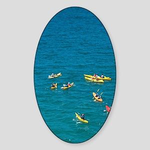 Kayaks, Cathedral Cove, Coromandel  Sticker (Oval)