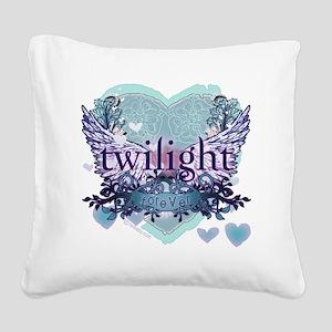 twilight forever aqua heart c Square Canvas Pillow