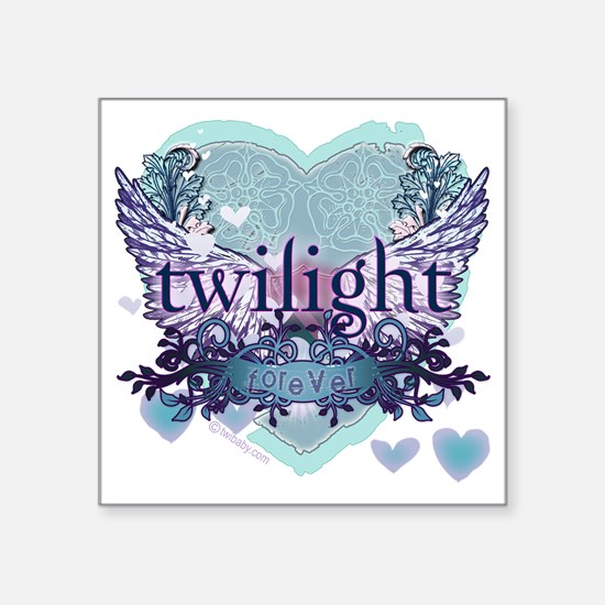"twilight forever aqua heart Square Sticker 3"" x 3"""