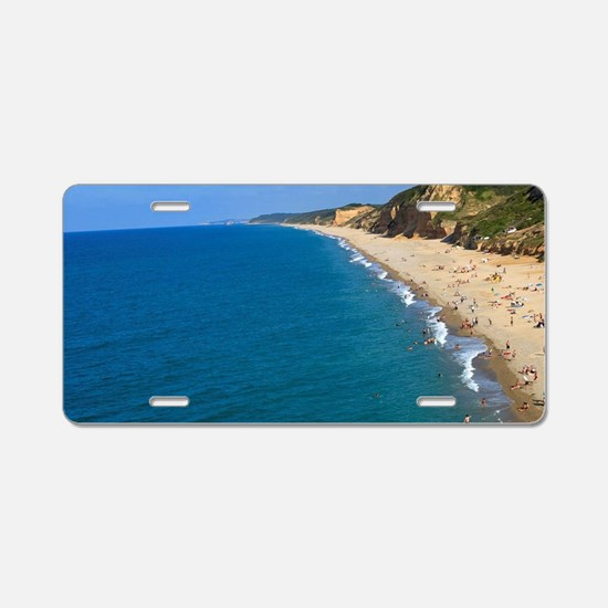 People enjoying the beach a Aluminum License Plate