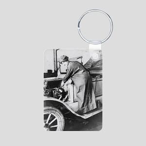 WOMAN WORKING ON CAR Aluminum Photo Keychain
