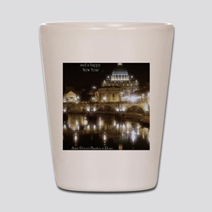 (5x7) St Peters across the Tiber at nig Shot Glass