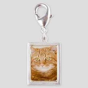 Orange Cat Silver Portrait Charm