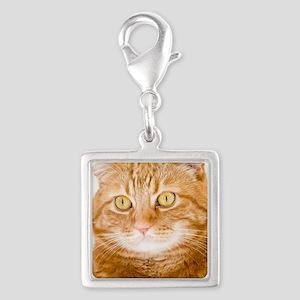 Orange Cat Silver Square Charm