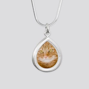 Orange Cat Silver Teardrop Necklace