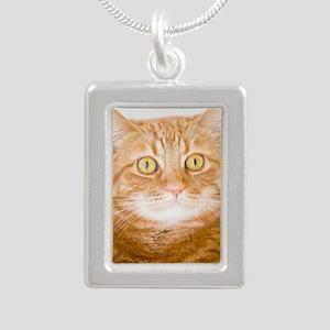 Orange Cat Silver Portrait Necklace