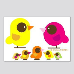 bird family 5 kids Postcards (Package of 8)