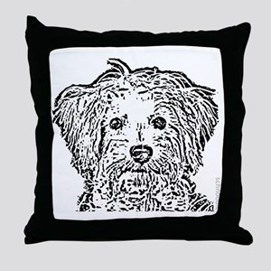 Schnoodle_bw Throw Pillow