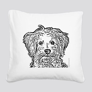 Schnoodle_bw Square Canvas Pillow