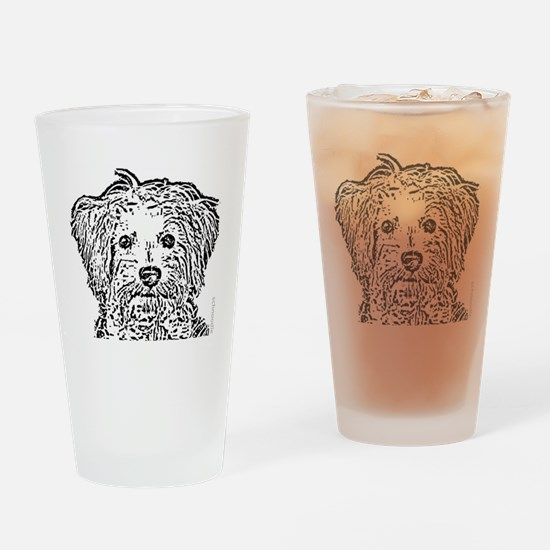 Schnoodle_bw Drinking Glass