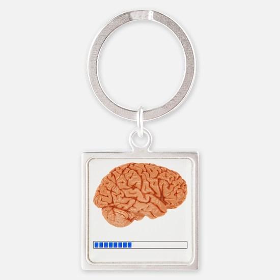 Brain Loading b Square Keychain