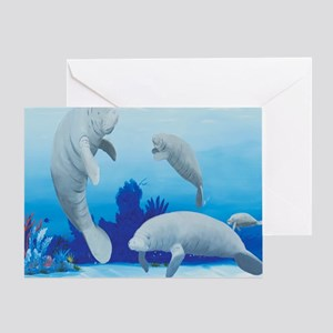 manatees-3-square Greeting Card