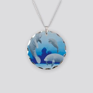manatees-3-square Necklace Circle Charm