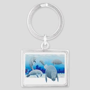 manatees-3 Landscape Keychain
