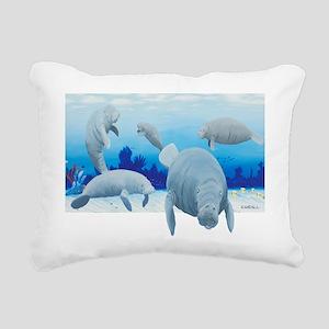 manatees-3 Rectangular Canvas Pillow