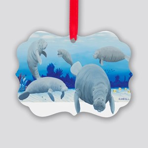 manatees-3 Picture Ornament