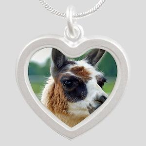 llama2_rnd Silver Heart Necklace