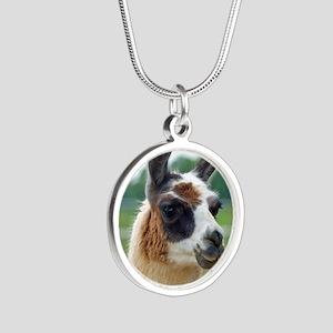 llama2_rnd Silver Round Necklace