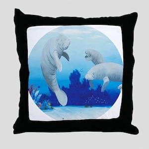 manatees-3-round Throw Pillow