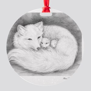 Arctic_fox_family_mini_poster Round Ornament
