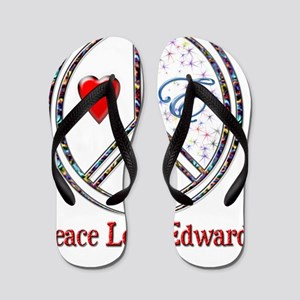 peace love edward Flip Flops