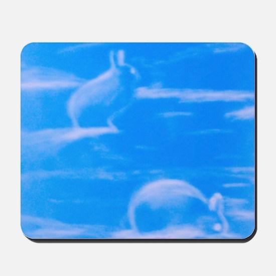 Blue Bunnies wide Mousepad