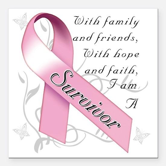 """Breast Cancer Survivor Square Car Magnet 3"""" x 3"""""""