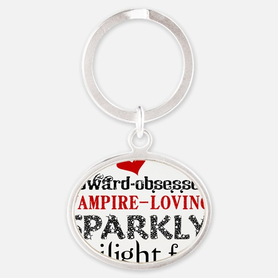 Sparkly Fan Oval Keychain