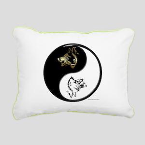 Wolves Yin Yang Rectangular Canvas Pillow