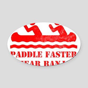 canoe-RED Oval Car Magnet